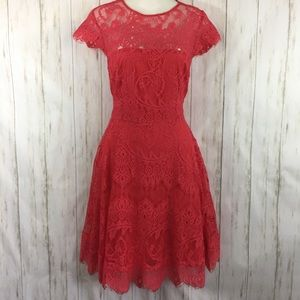 BB Dakota Dress Sz 8 Lace Fit Flare Bright Pink